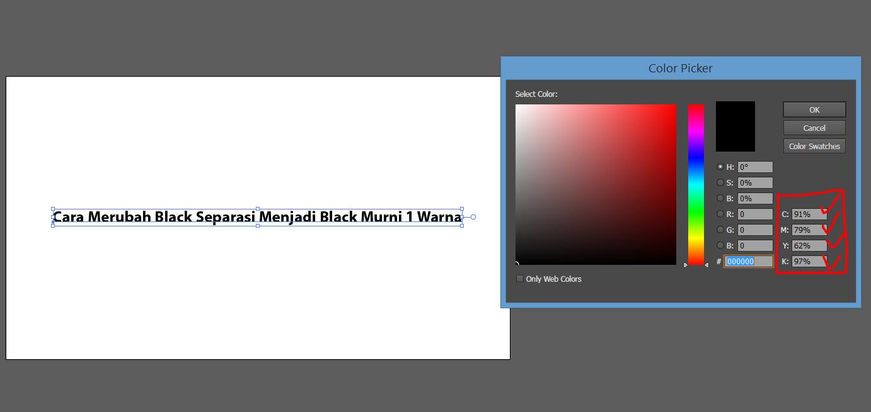 perbedaan black separasi dengan black murni 1 warna