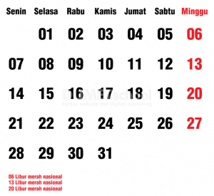 Cara Membuat Template Tanggalan Kalender Di Illustrator Part 2 - 18