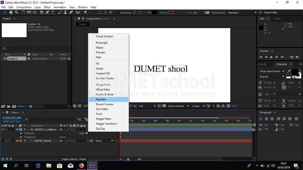 Cara Membuat Long Text Shadow di Adobe After Effect Part2