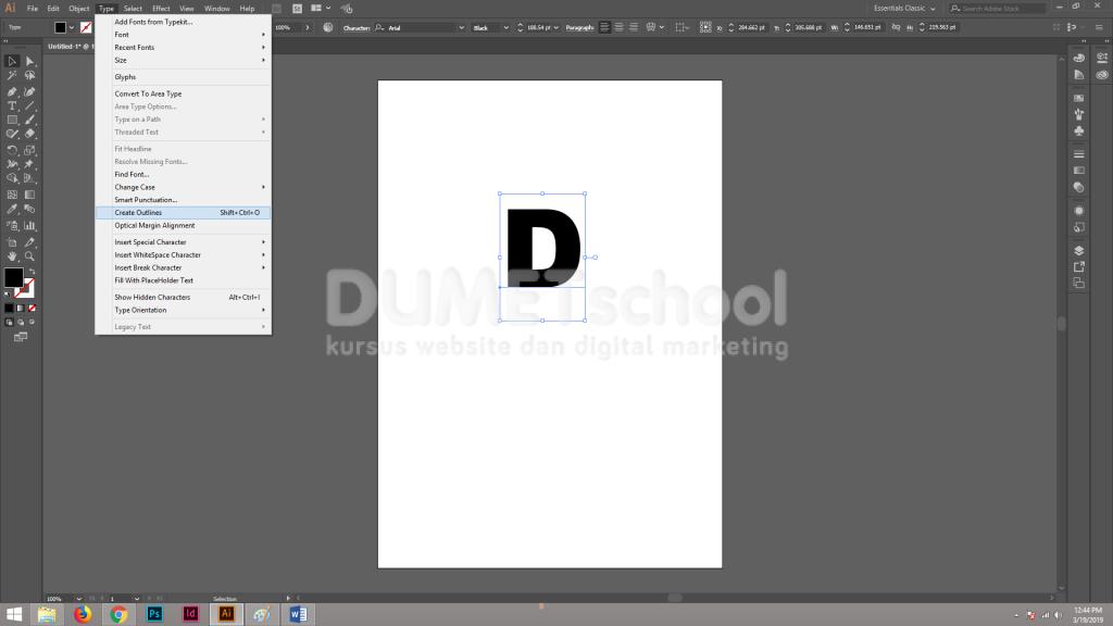Membuat Custom Drop Caps Pada Software Penglah Gambar Adobe Illustrator