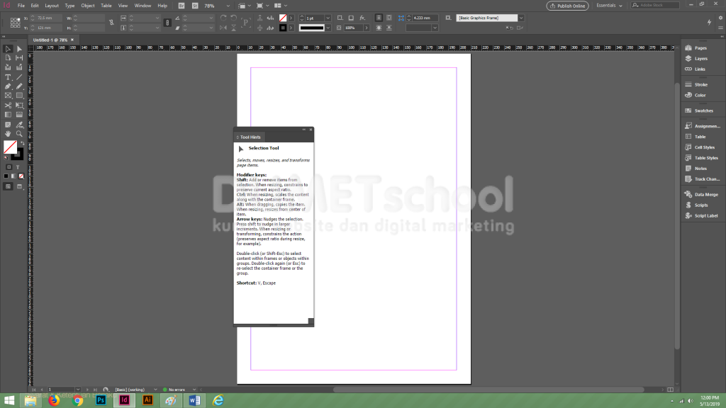 Cara Mengetahui Fungsi sebuah Tool di Adobe Indesign Bagi Pemula