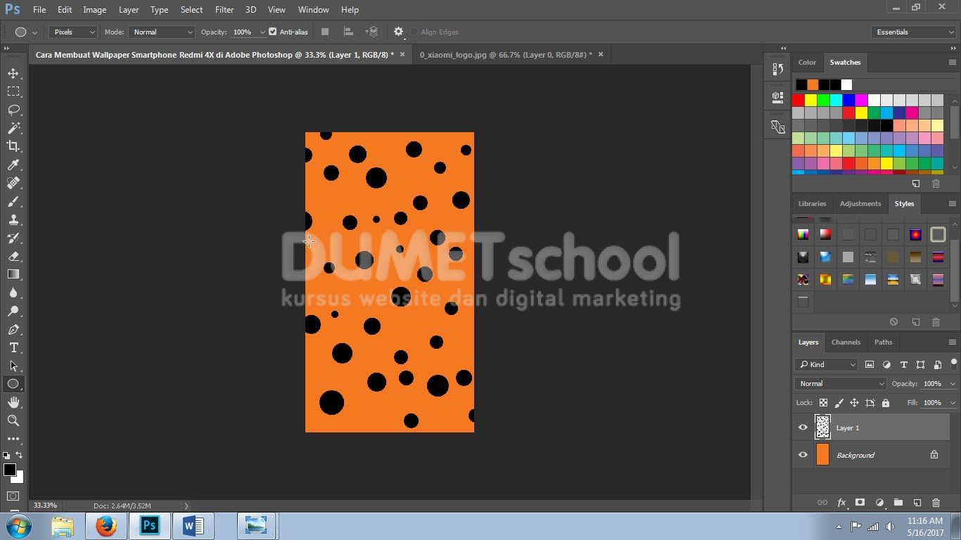 Cara Membuat Wallpaper Smartphone Redmi 4X Di Adobe Shop