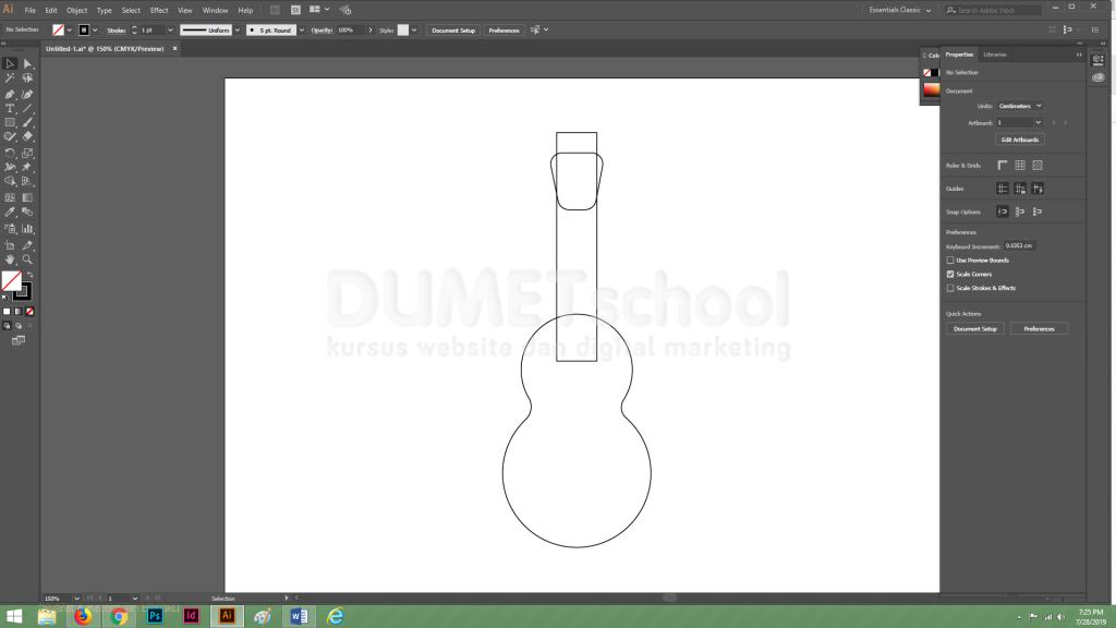 Membuat Gitar Flat Design di Adobe Illustrator Part 2