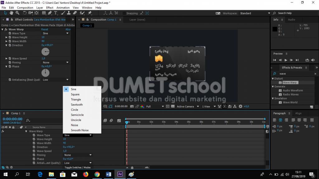 Memberikan Efek Waves Pada Objek di Adobe After Effect Part2
